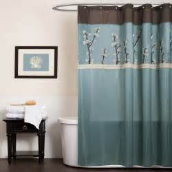 lush decor cocoa flower shower curtain color blue brown