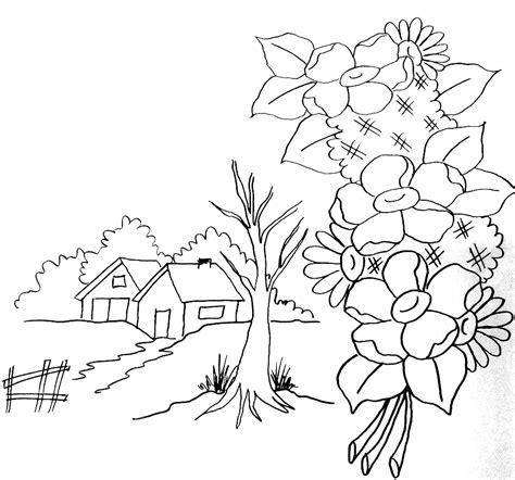desenho paisagens pintura em tecido inciantes como fazer passo a passo