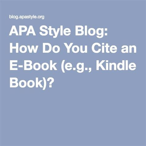 Apa Format Kindle Book | 1000 ideas about apa style on pinterest research paper