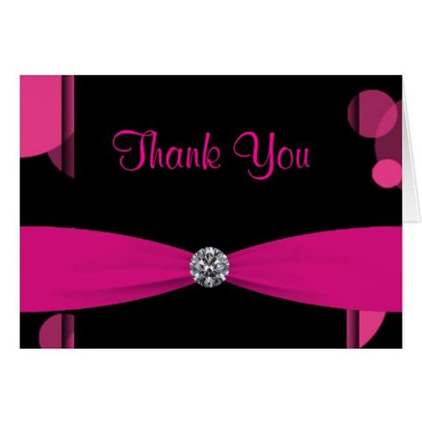 Can You Use A Pink Gift Card In Victoria Secret - black hot pink bubbles hot pink thank you cards zazzle