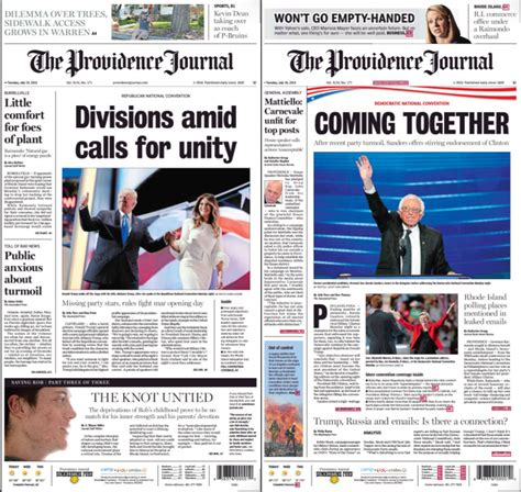 newspaper layout analysis two conventions portrayed in one newspaper the current
