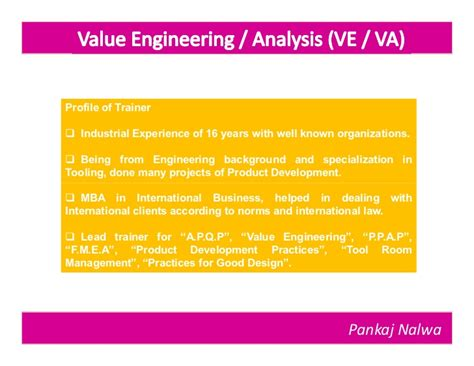 Value Of Mba In Ministry by Value Engineering Part 1