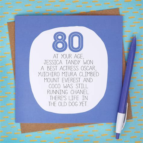 What To Write On 80th Birthday Card By Your Age Funny 80th Birthday Card By Paper Plane
