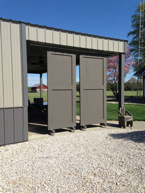 Pole Barn Sliding Door My Husband Just Made These Sliding Barn Doors For Our Overhang On Our Pole Barn Looks Amazing