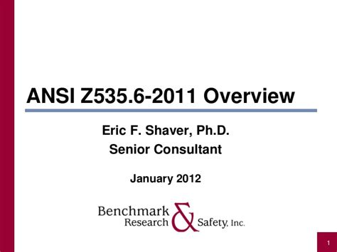 Learning And Performance Consultant At Sheryl Waxler Ph D Mba by Ansi Z535 6 2011 Overview