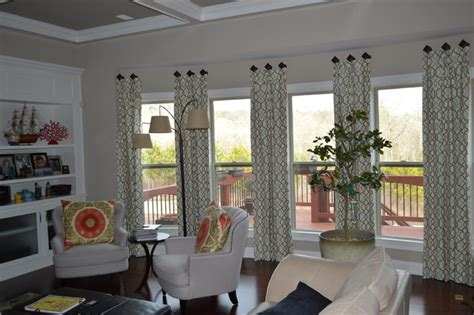 Window Treatments For Large Windows Decorating Large Bay Window Drapes On Medallions Ga Contemporary Living Room Atlanta By