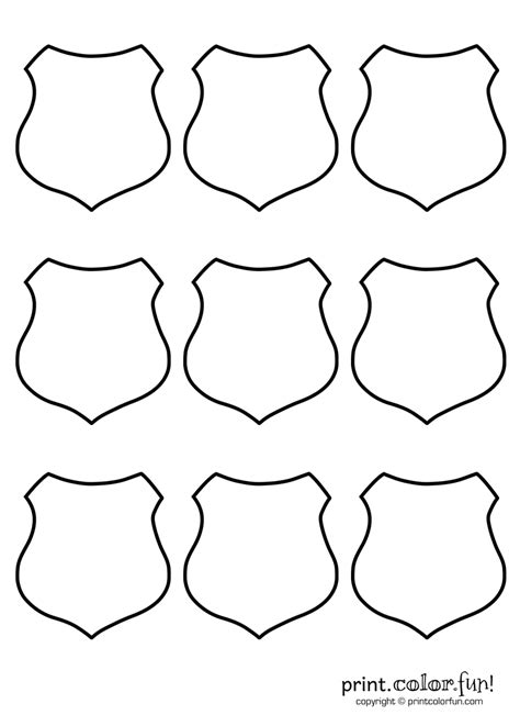 9 Blank Shields Coloring Page Print Color Fun Printable Badge Template