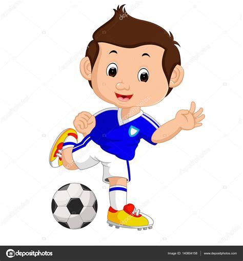 imagenes niños jugando futbol ni 241 o de dibujos animados jugando al f 250 tbol vector de