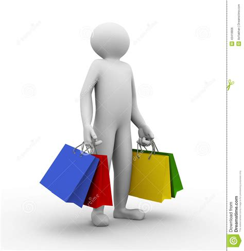 escalade commercial white guy carrying bags 3d man with shopping bag stock illustration image of