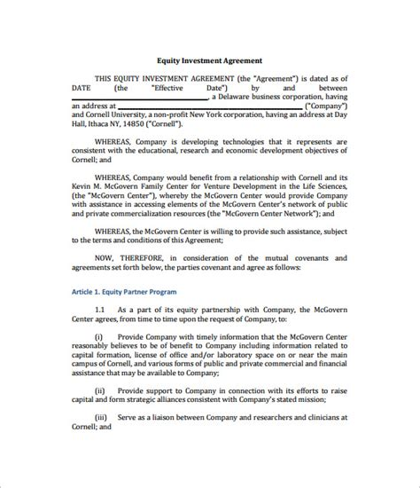 equity agreement template 9 investment contract templates free word pdf