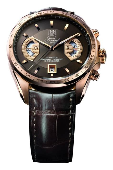 Tag Heuer Grand Calibre 8 Leather Black Gold tag heuer grand calibre 17 rs chronograph review