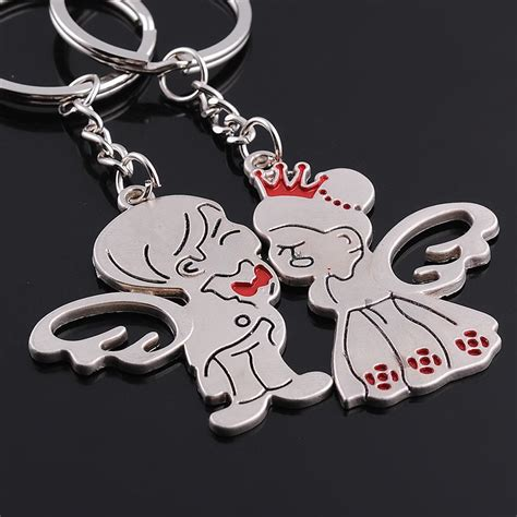 2pcs pattern boy girl angel wing crown metal couples