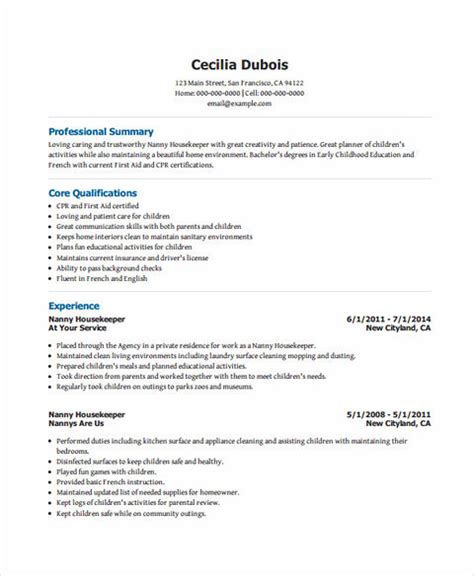 sle resume nanny position all things you should about nanny resume