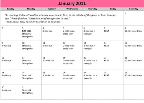 printable calendar running printable calendar 2016 for marathon training calendar