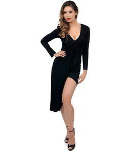 sizzling black knitted long sleeve dress collection for