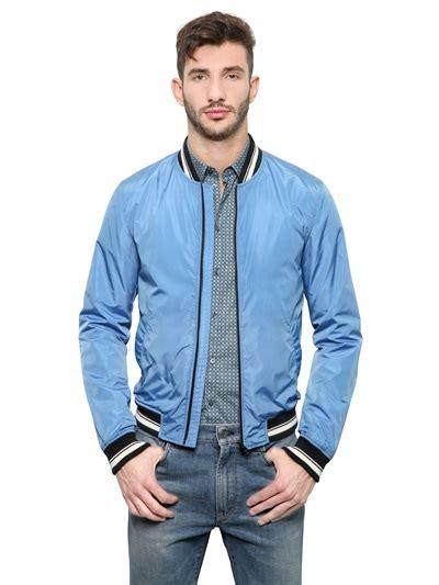 light blue bomber jacket dolce gabbana light nylon bomber jacket in blue for men