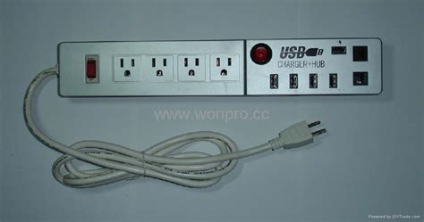 three prong usb power outlets in wooden desk