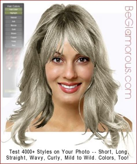 gray hair try virtual hairstyle & color ideas online, on