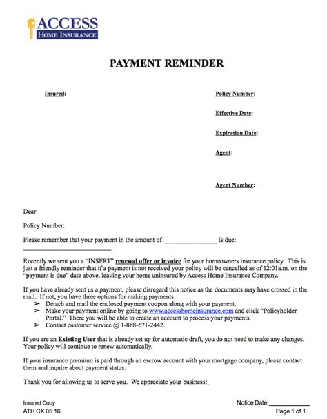 Upcoming Payment Reminder Letter Access Home Insurance Louisiana And South Carolina Homeowner S Insurance 187 Payment Reminder Letter