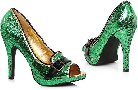 Yh Heels 59 luck o the green glitter peep toe pumps high heels shoes ebay
