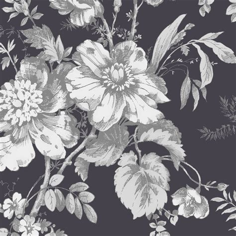 black and white floral wallpaper b q arthouse vintage fleurette grey white wallpaper