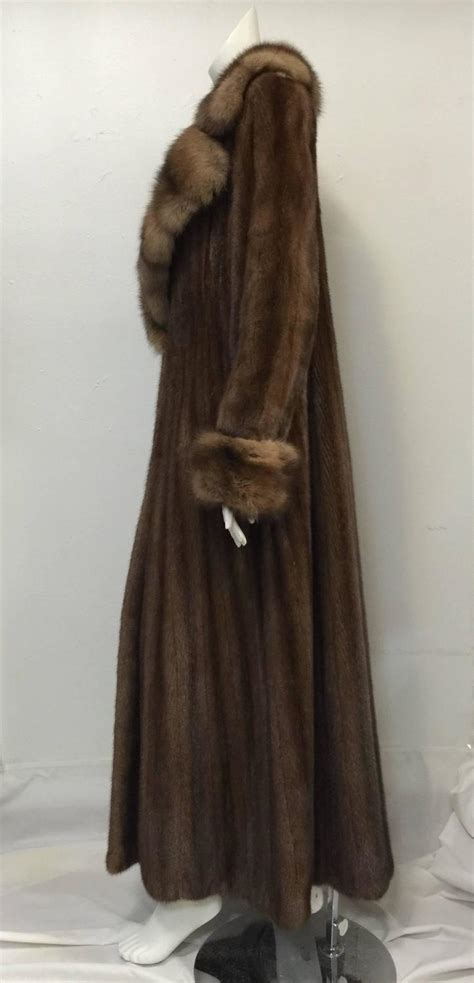 long swing coat luxurious brown mink long swing coat with sable collar and