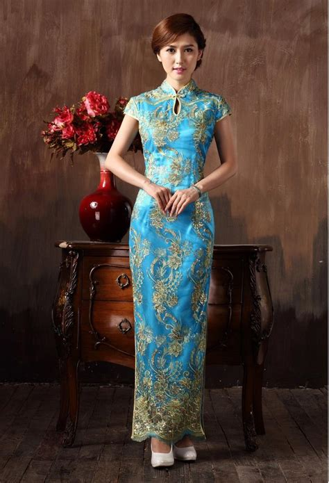 41345 Flower With Slit S M L Dress cheongsam wedding dresses lace flowers
