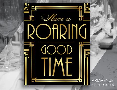 themes of the great gatsby yahoo gatsby decor sign roaring good time quote printable