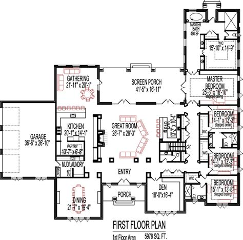 5 bedroom open floor plans 5 bedroom house plans open floor plan design 6000 sq ft house 1 story