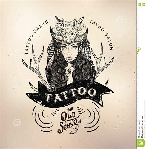tattoo old school logo tattoo girl old school studio skull stock vector