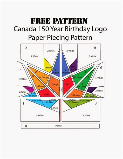 paper pattern 1 year seasew canada150 quilt pattern