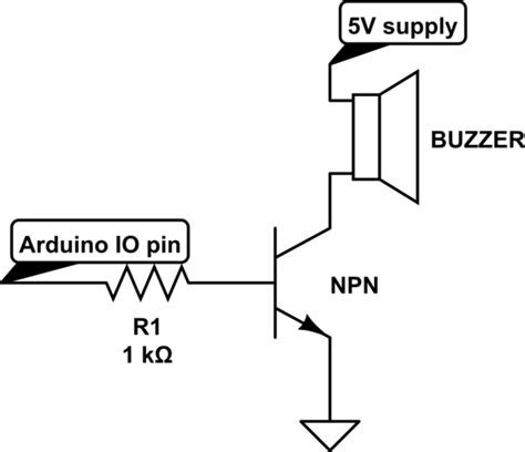transistor driver circuit for buzzer resistors buzzer on arduino uno electrical engineering stack exchange