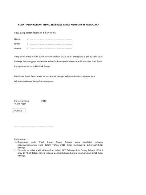 formulir contoh surat pernyataan tidak bekerja bagi wp orang pribadi