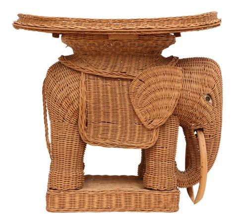 Wicker Elephant Table by Vintage Rattan Wicker Elephant Side Table Chairish