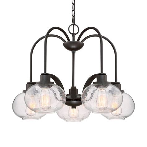 Seeded Glass Chandeliers Shop Quoizel Trilogy 26 In 5 Light Bronze Industrial Seeded Glass Shaded Chandelier At Lowes