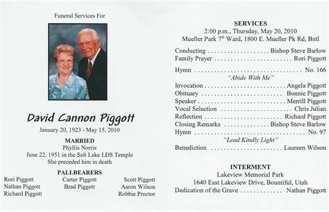 funeral service program template funeral service program template