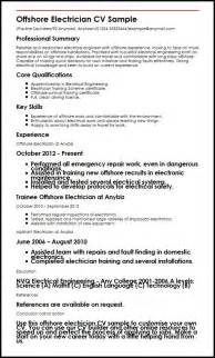 Cv Template Electrician by Offshore Electrician Cv Sle Myperfectcv