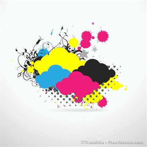 4 color print nuvens coloridas respingos de tinta baixar vetores