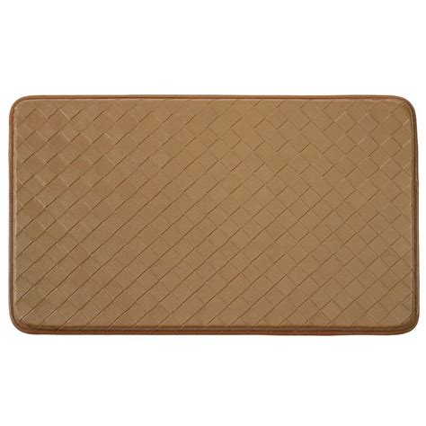 comfort kitchen mat chef gear diamond weave faux leather tan 18 in x 30 in
