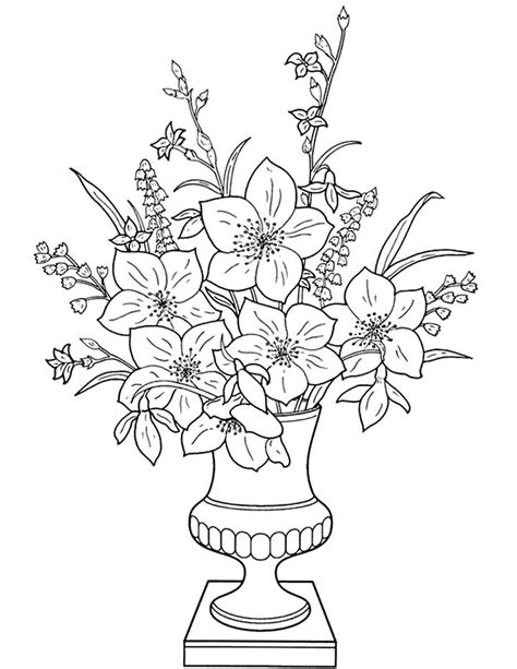 Coloring Pages Of Flowers In A Vase | flower vase coloring pages flower coloring page