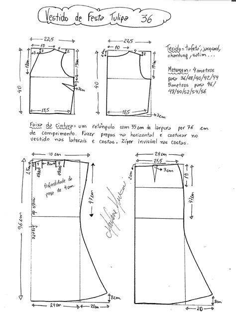 esquema de vestido vestido de festa tulipa diy molde corte e costura