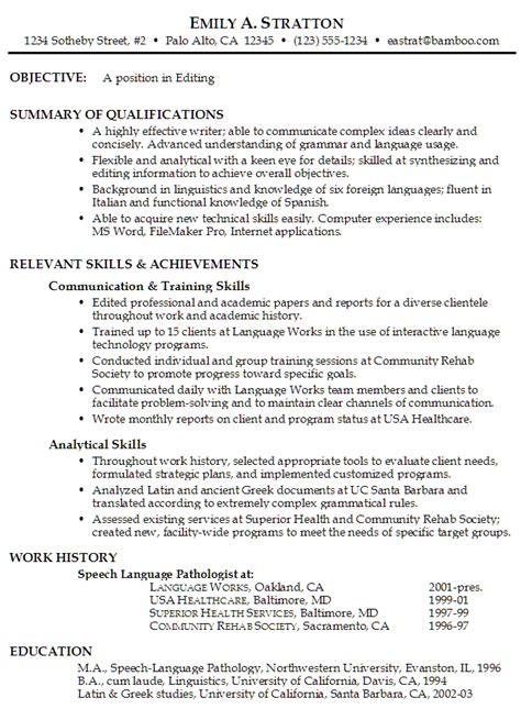 Resume Sle For Editor Position Functional Resume Exle Editing