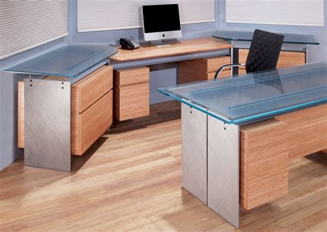 Office Desk Tops Modern Executive Glass Top Desk Metal And Glass Desk Stoneline Designs