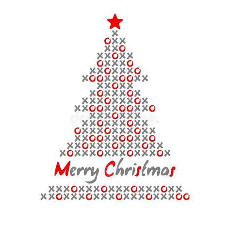 modern christmas tree card with noughts and crosses