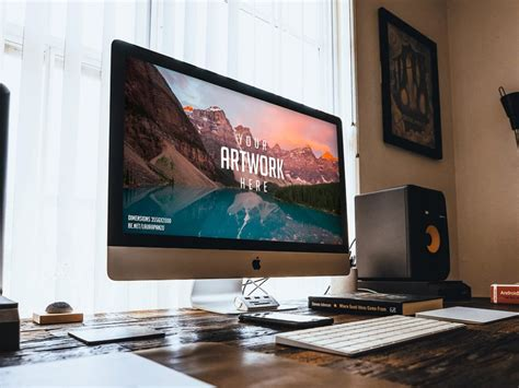 imac on wooden desk mockup mockupworld