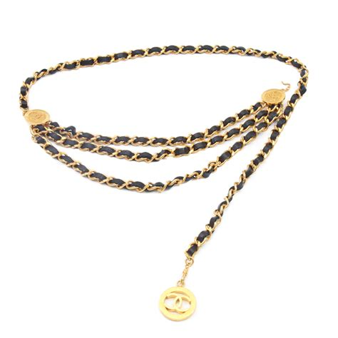 chanel vintage cc logo medallion leather chain belt bags