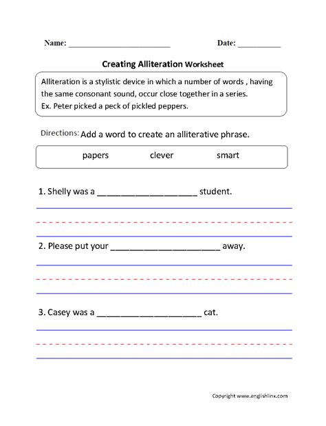 Create Worksheets by Englishlinx Alliteration Worksheets