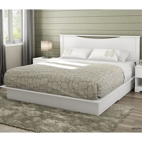 White Bed Headboard by South Shore Step One King Platform W Headboard Drawers