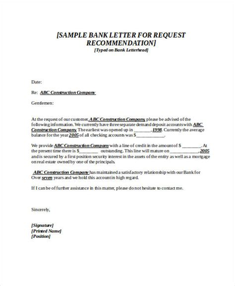 Bank Referral Letter