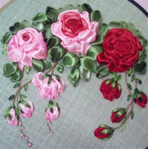 flower design with ribbon ribbon rose embroidery i can see this design on a